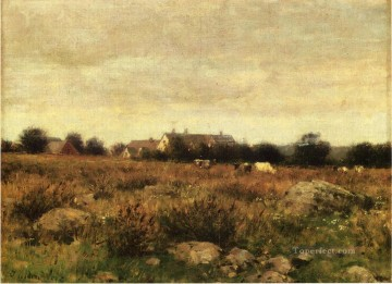 Julian Alden Weir Painting - Houses in Pasture Julian Alden Weir